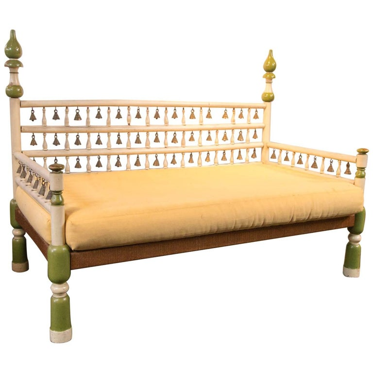 Tony Duquette style Anglo Indian Bench with Bells For Sale