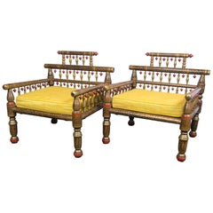 Pair of Anglo-Indian Style Decorative Armchairs