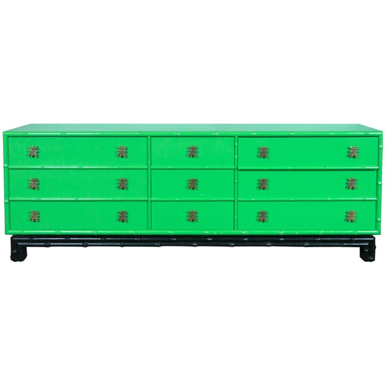 Ficks Reed Chinoiserie Credenza or Long Chest of Drawers For Sale