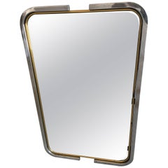 Italian Mid-Century Modern Mirror with Chrome and Brass Frame from 1970s