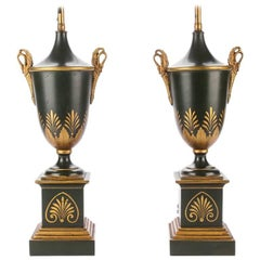 Pair of Neoclassical Tole Urn Form Lamps