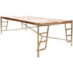 Contemporary Design Bronze and Marble Dining Table Seats Eight