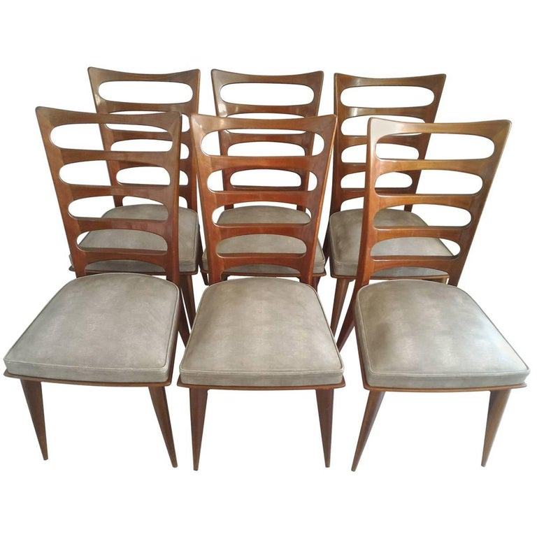 Set of Six Mid-Century Modern Dinning Room Chairs, France, 1950s