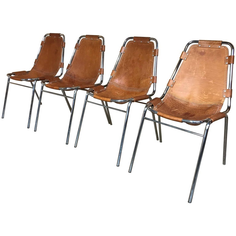 Les Arcs Chairs Chosen by Charlotte Perriand for Cassina, 1960s, Set of Four