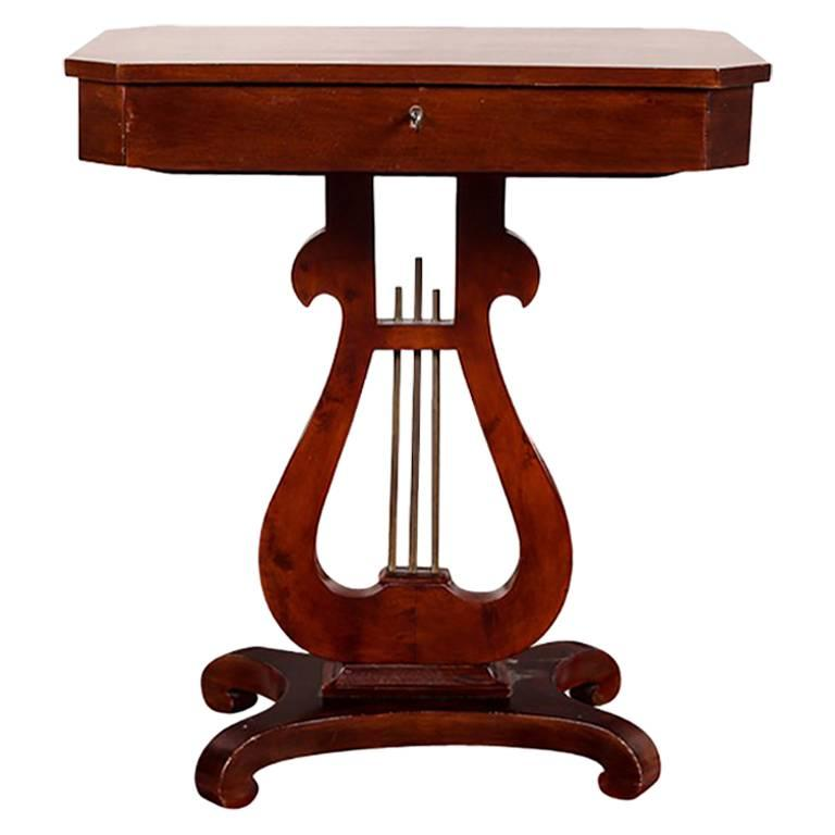 Antique Mahogany Neoclassical Style Lyre Base Table