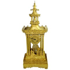French Restoration Period Chinese Motif Gilt Bronze Mantel Clock by Honoré Pons