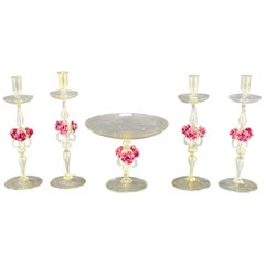 Venetian Centerpiece Set Candlesticks with Gold Inclusions Applied Pink Roses