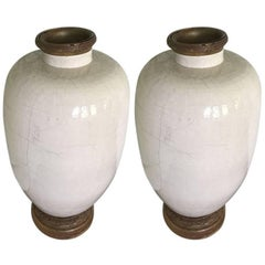 Pair of Rare 17th Century Japanese Glazed Porcelain Temple Vases
