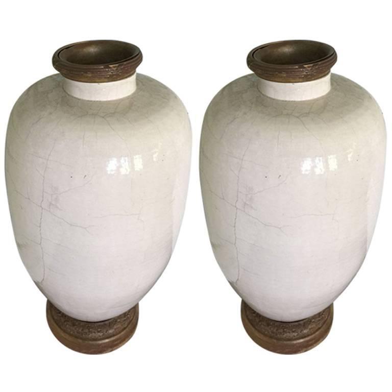 Pair of Rare 17th Century Japanese Glazed Porcelain Temple Vases