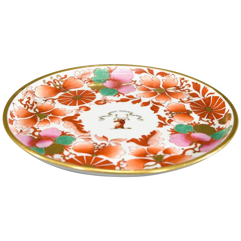 Worcester Barr, Flight & Barr Imari Pink and Green Footed Cake Plate with Deer