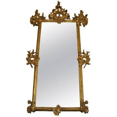 Rare 18th Century Lavishly Carved Pier Ballroom Mirror with Gilt Rococo Detail