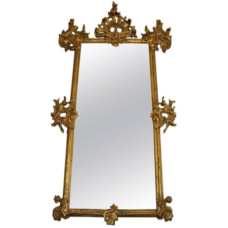 Rare 18th Century Lavishly Carved Pier Ballroom Mirror with Gilt Rococo Detail