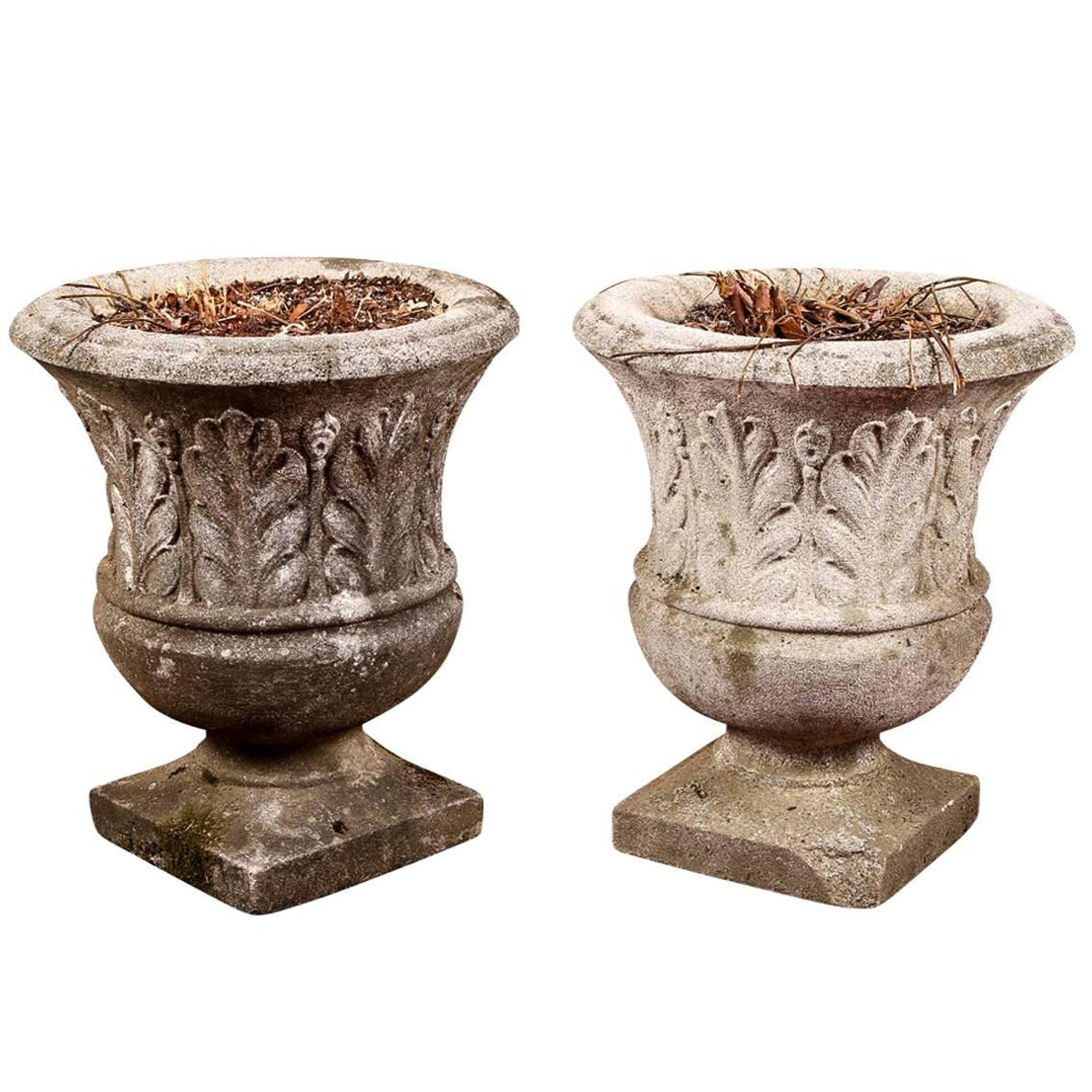 Pair of Older Cement Garden Urns For Sale at 1stdibs