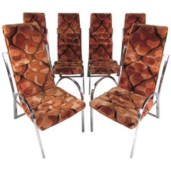 Vintage Chrome and Upholstered High Back Dining Chairs