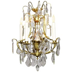French Louis XV Style Gilt Bronze and Cut-Glass Foyer or Bedroom Chandelier