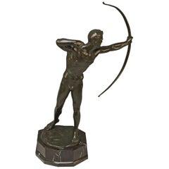 Bronze Archer Bowman Bow Hunter Figurine, Poertzel Otto Germany Made, circa 1925