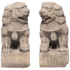 Pair of 19th Century Chinese Limestone Fu Dog Protectors