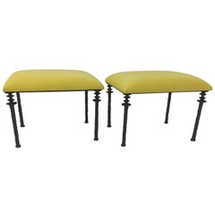 Pair of Sorgue Stools by Bourgeois Boheme Atelier