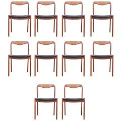 Mid-Century Modern Scandinavian Set of Ten Chairs in Teak