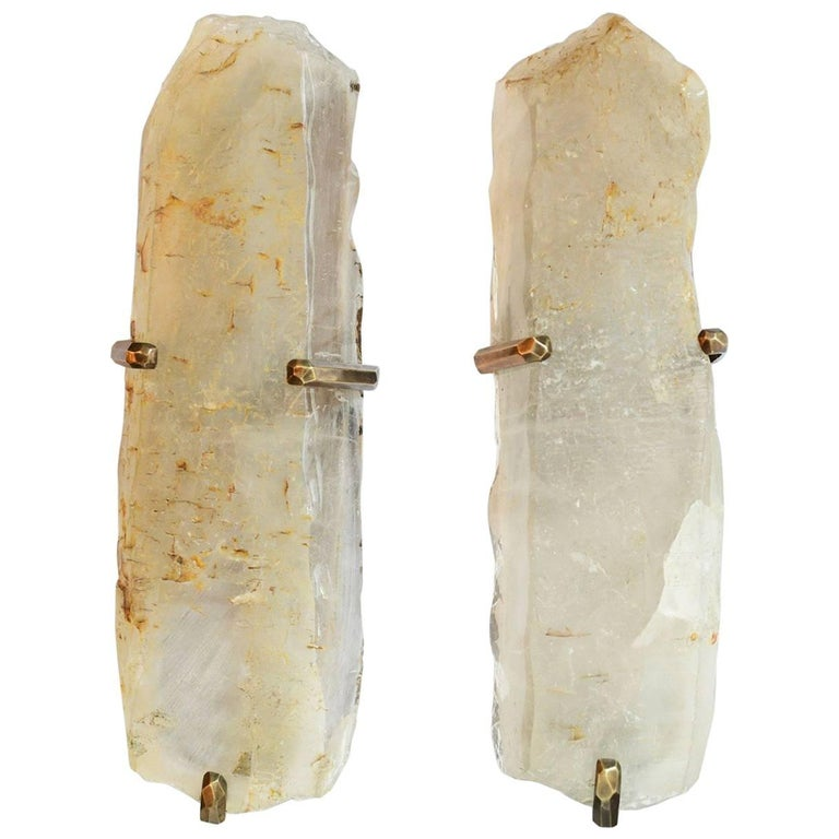 Rare Pair of Natural Rock Crystal Sconces