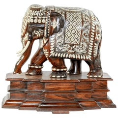 19th Century Hand-Carved Rosewood and Bone Inlay Elephant