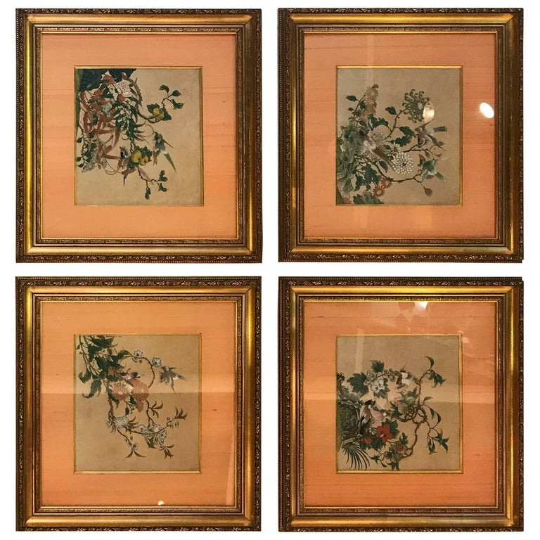 Set of Four Antique Chinese Watercolors, circa 1800