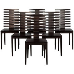 Set of Six Slat Back Dining Chairs