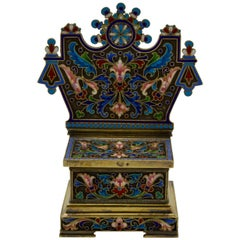 Antique Russian Enamel and Vermeil Salt-Chair by Ovchinikov