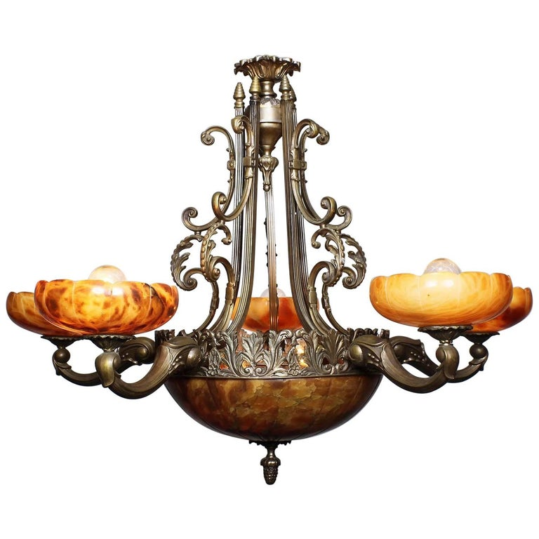 French 20th Century Art Deco Bronze and Carved Alabaster Five-Light Chandelier