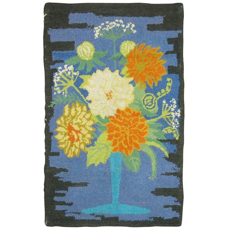 Vintage American Hooked Mat Size Rug