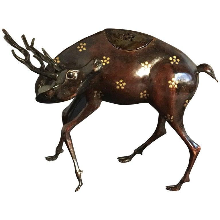 19th Century Japanese Edo Period Deer Form Bronze Censer