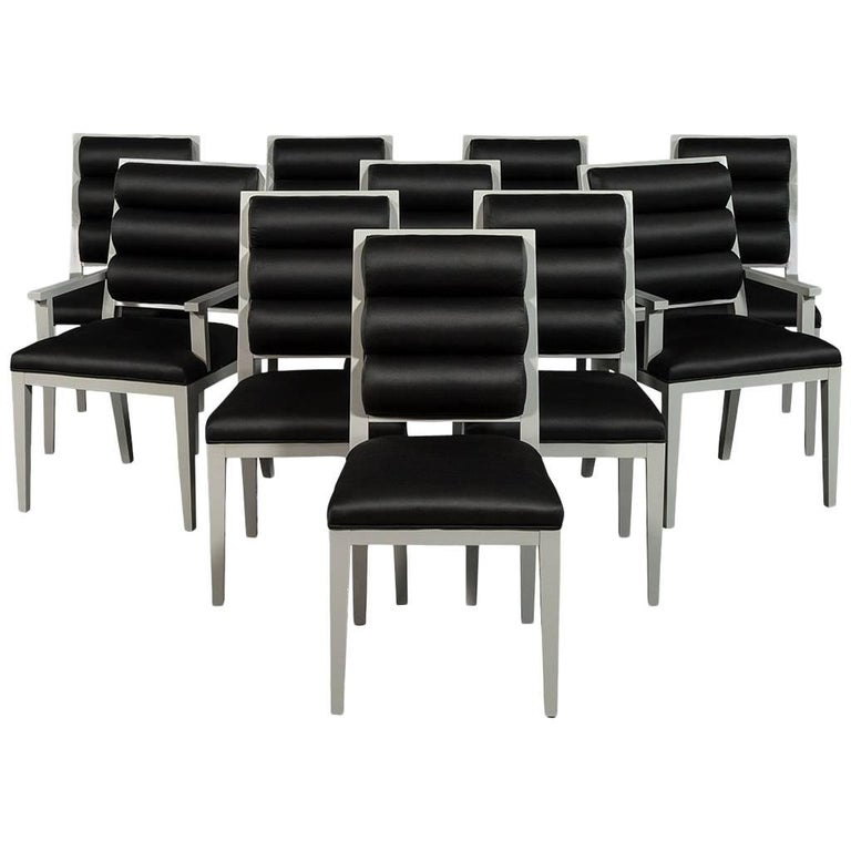 Set of Ten Deco Style Roll Back Dining Chairs