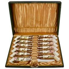 19th Century English Porcelain Crabstick Handled Dessert Knives, Cased Set of 12