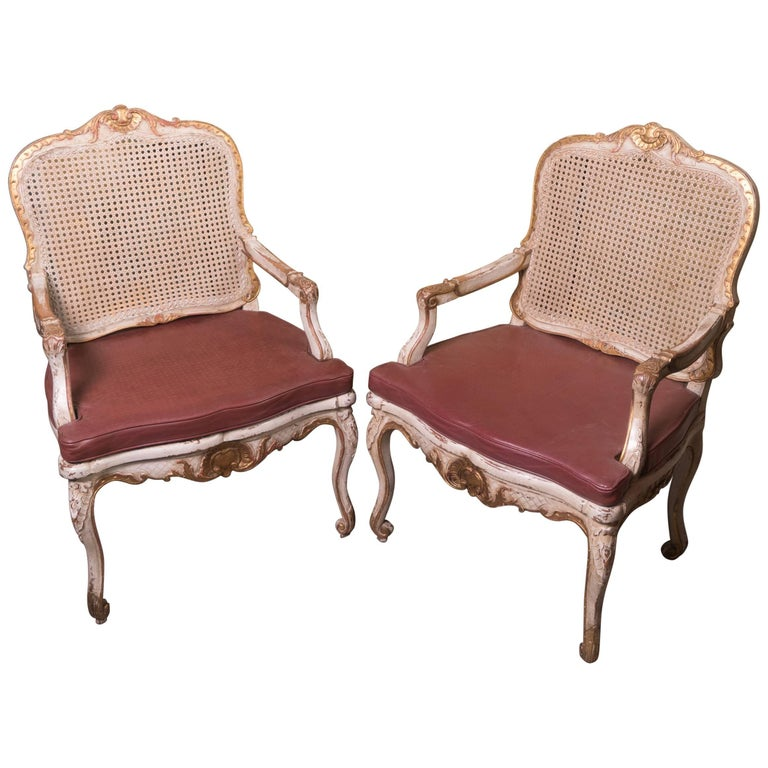 Pair of Painted and Gilded Caned Regence Chairs For Sale