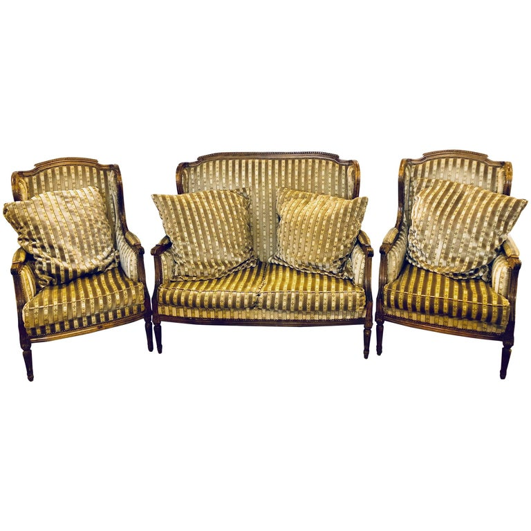 Large Jansen Style Louis XVI Living Room Suite Couch and Two Lounge Chairs