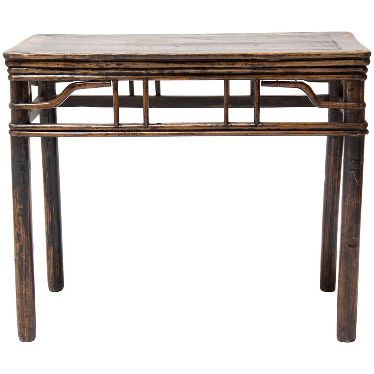19th Century Chinese Half Table with Lattice Apron