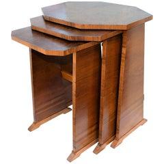 1930s Art Deco Figured Walnut Nest of Three Tables