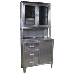 Vintage Stainless Steel Cupboard Industrial Medical Fischman Step Back Cabinet