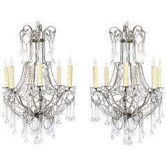 Elegant and Graceful Italian 1960s Cage-Frame Beaded Six-Light Chandeliers, Pair