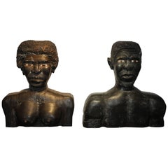 American Folk Art Large Wood Carved Male and Female Black Busts Sculptures