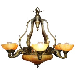 French 20th Century Art Deco Bronze and Carved Alabaster Six-Light Chandelier