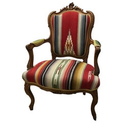 Vintage French Chair Upholstered with Vintage Serape Fabric