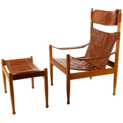 Erik Worts Safari Chair Ottoman Cognac Leather for Niels Eilersen, Denmark, 1960