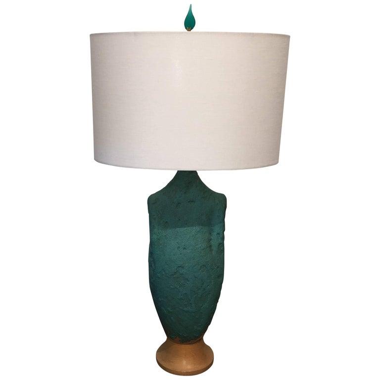 Figural Turquoise Vintage Ceramic Lamp