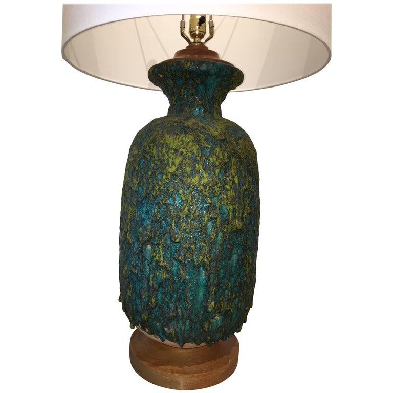Large Volcanic Textured Aqua and Green Ceramic Midcentury Lamp