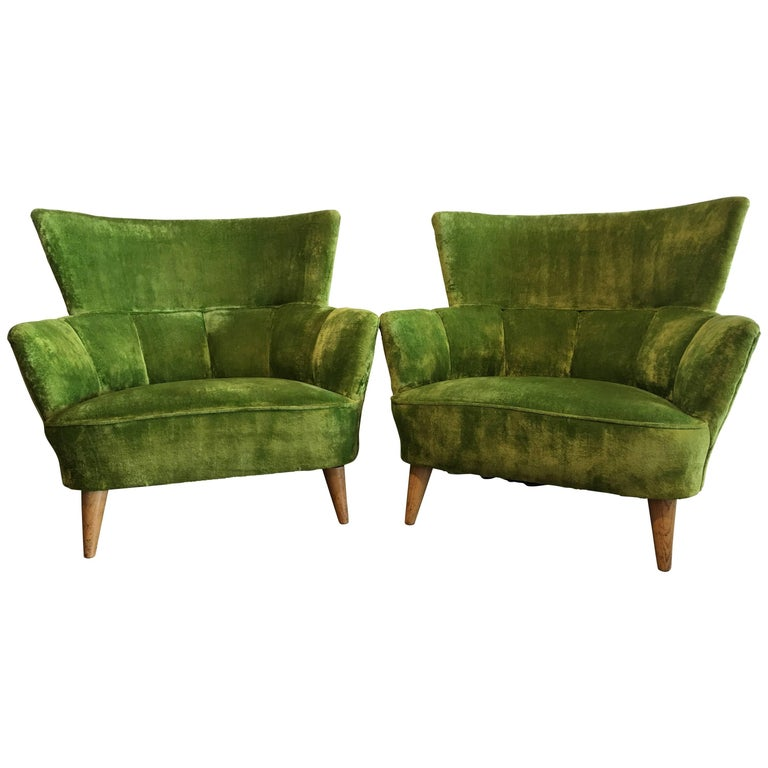 Midcentury Lime Green Chairs Covered In Original Fabric For