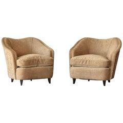Gio Ponti, Lounge / Armchairs, Beige Velvet, Dark Beech Legs, Italy, 1940s