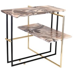 Mexican Onyx Stone and Brass UÑA Side Coffee Table Design by Nomade Atelier