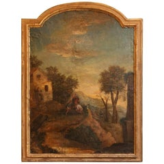Late 18th-Early 19th Century School of Italy Landscape Oil Painting