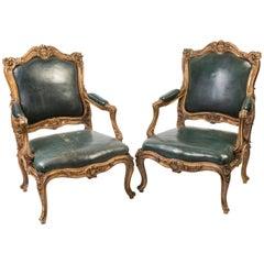 Late 18th Century Pair of Italian Louis XV Style Fauteuils
